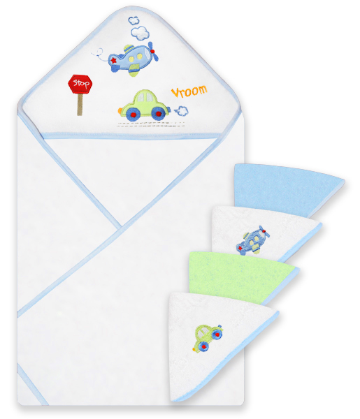 Spasilk Hooded Towel & 4 Washcloth Set, Blue Plane by Spasilk