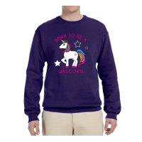 Born to be a Unicorn Mens Fashion Graphic Sweatshirt