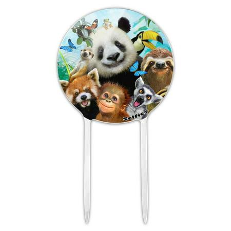 Monkey Cake Decorations (Acrylic Zoo Animals Selfie Panda Bear Sloth Meercat Monkey Lemur Cake Topper Party Decoration for Wedding Anniversary Birthday)