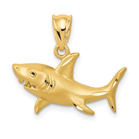 ICE CARATS 14kt Yellow Gold Shark Pendant Charm Necklace Sea Life Fine Jewelry Ideal Gifts For Women Gift Set From Heart