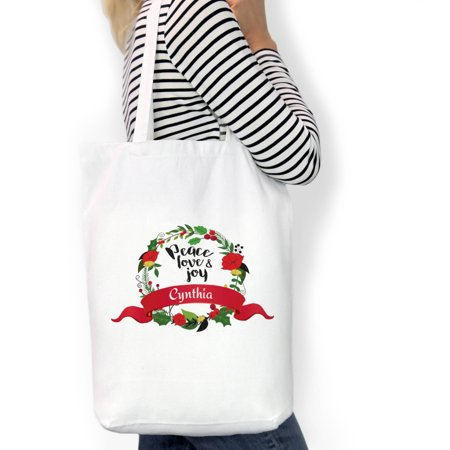 Peace Love Joy Custom Cotton Tote Bag, Sizes 11