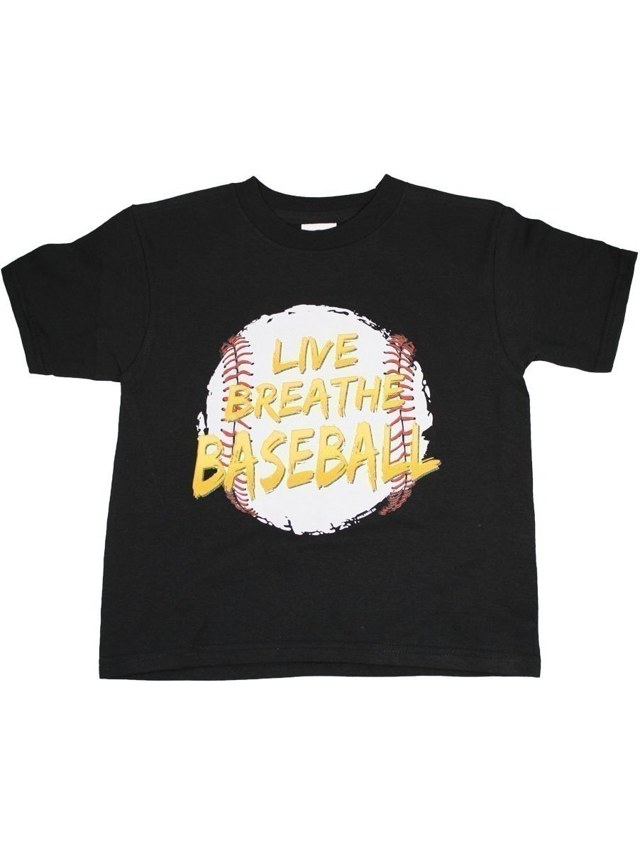 "Unisex Black ""Live Breath Baseball"" Print Short Sleeve Cotton T-Shirt"