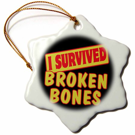 3dRose I Survived Broken Bones Survial Pride And Humor Design, Snowflake Ornament, Porcelain, 3-inch