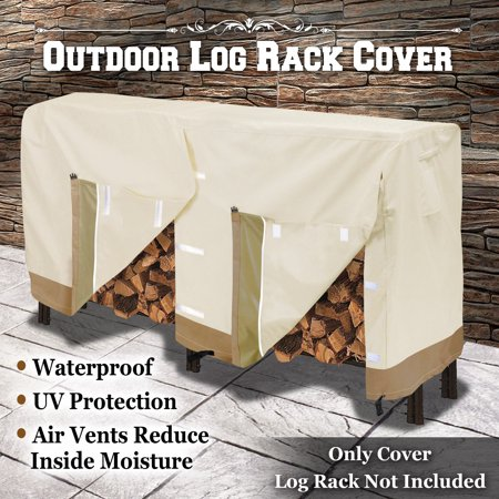 Extra Large Wood Rack - Strong Camel Premium Large Size Log Rack Cover Firewood Rack Waterproof Wood Storage Holder Cover ( Size 8.5' L x 2.1' x 3.5' H)