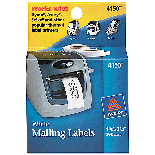 """Avery 4150 White Mailing Labels, 1-1/8"""" x 3-1/2"""", 260 Labels/Pack"""