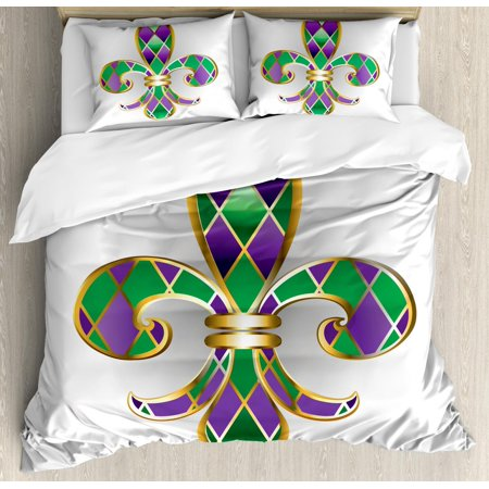 Fleur De Lis Duvet Cover Set, Golden Yellow Colored Lily Symbol With Diamond Shapes Royalty Theme Ancient, Decorative Bedding Set with Pillow Shams, Purple Green, by Ambesonne ()