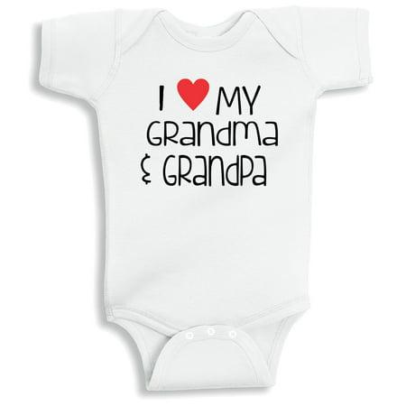 Lil Shirts I Love My Grandpa And Grandma Baby Bodysuit 3 6 Months