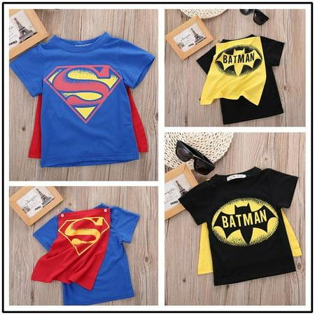 Summer Kid Boys Baby Superman Batman T-Shirt Short Sleeve Children Tee Costume Baby Short Sleeve Toddler T-shirt