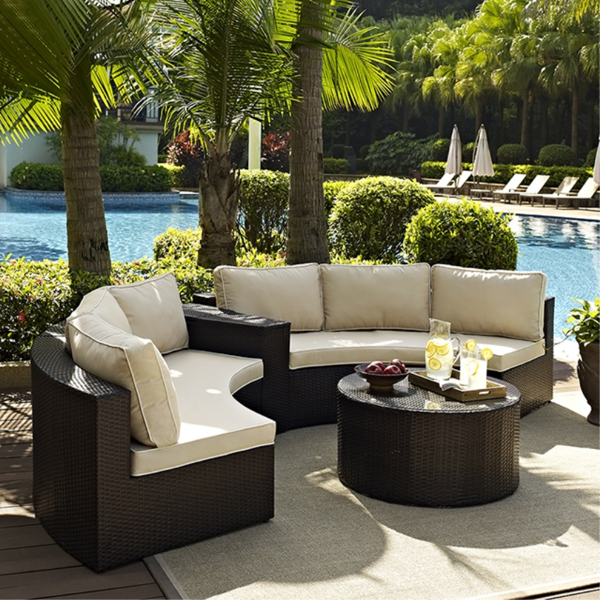 CATALINA 4 PIECE OUTDOOR WICKER SEATING SET WITH SAND CUSHIONS - TWO ROUND SECTIONAL SOFAS, ARM TABLE, AND ROUND GLASS TOP COFFEE TABLE