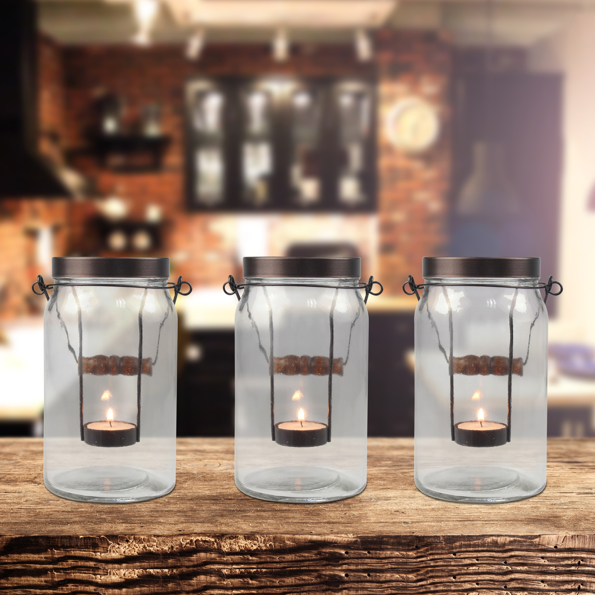 Better Homes and Gardens Jar Tealight Candle Holders, 3-Pack