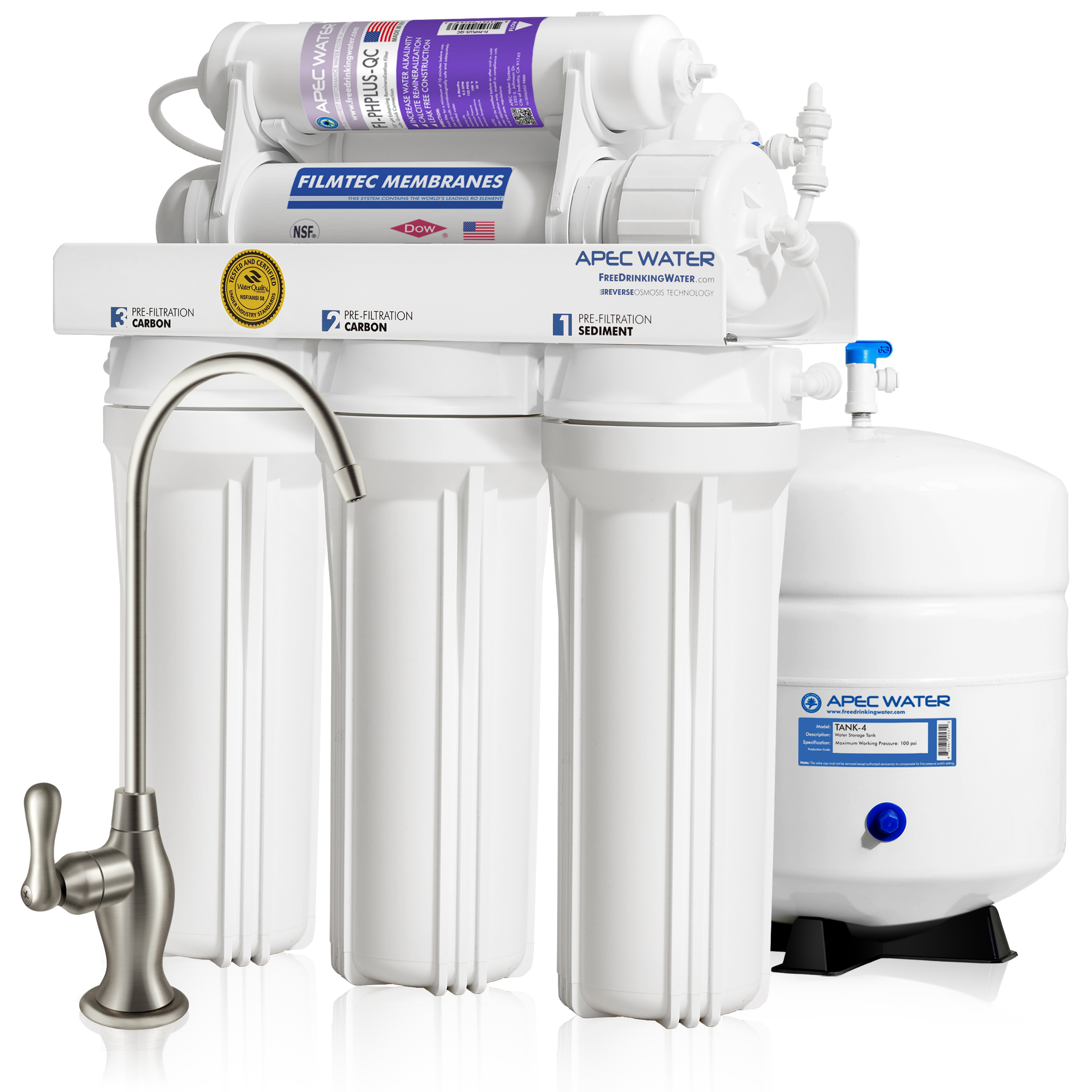APEC ULTIMATE RO-PH90 Top Tier Supreme Certified Alkaline Mineral pH+ High Output 90 GPD 6-Stage Ultra Safe Reverse Osmosis Drinking Water Filter System