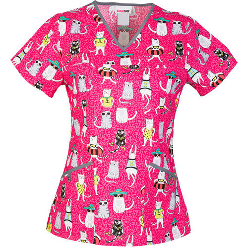 "SCRUBSTAR Women's Fashion Collection ""Botanic Beauty"" V-Neck Printed Scrub Top"
