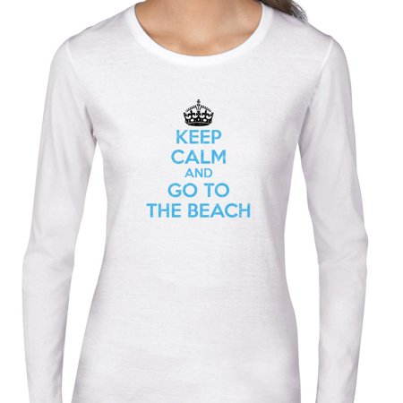 Keep Calm & Go to the Beech - Cool Ocean Blue Lettering Women's Long Sleeve T-Shirt