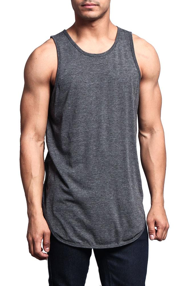G-Style USA Solid Color Long Length Curved Hem Tank Top TT47 - NAVY - 2X-Large - A4D