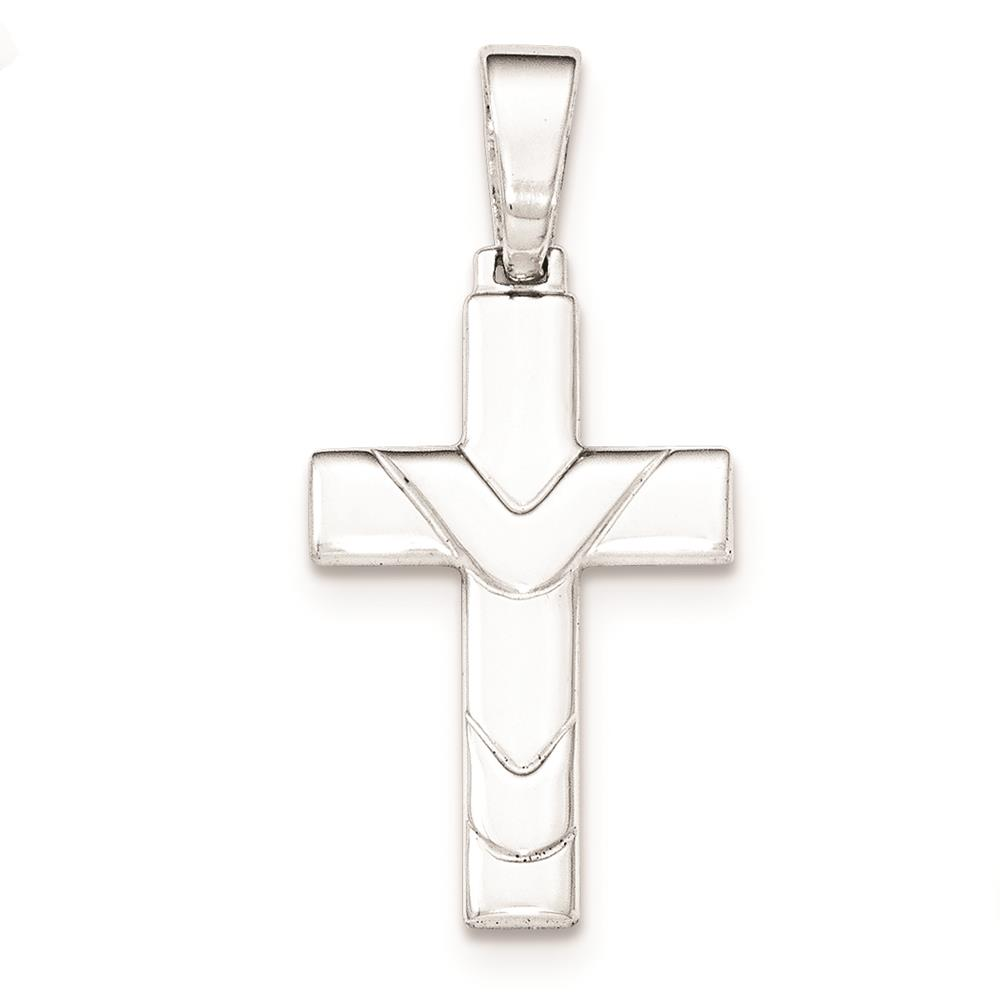 Ladies 925 Sterling Silver Polished Cross Charm Pendant