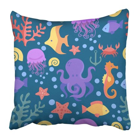 BPBOP Cute Marine Pattern Sea Octopus Crab Corals Fish Anchor Starfish Seahorse the Underwater World Toys Pillowcase 18x18 inch