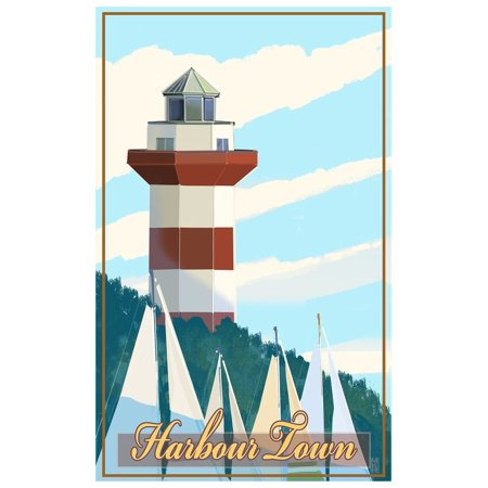 Harbor Town Lighthouse (Harbour Town South Carolina Lighthouse Travel Art Print Poster by Mike Rangner (12