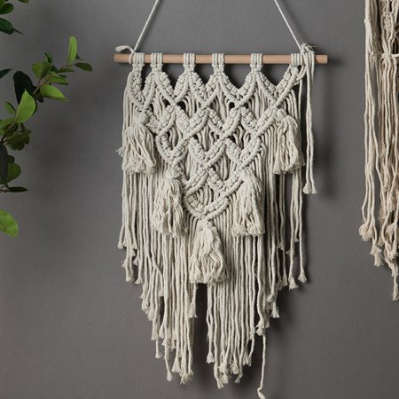 Macrame Wall Hanging, Woven Modern Bohemian wall Art Tapestry Decor for House, Apartment, Dorm, Bedoom, Nursery, Party Decorations, Wedding, Jewelry hanger