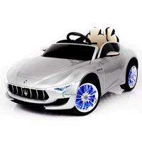 12V Maserati Alfieri Ride on Electric Car For Kids with MP4 Touch Screen Remote Control LED lights wheels MP3 Leather seat - Silver