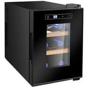 HSD 6 Bottle Wine Cooler, Freestanding Wine Cellar Fridge Chiller Countertop Wine Cooler - 7-18℃ Temperature Zone Beverage Drink Refrigerator Glass Door/Digital Control (Color : A)