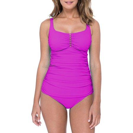 e10dd37ad8 Profile By Gottex - Tutti Frutti Sqaureneck One-Piece Swimsuit - Walmart.com