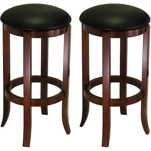 "30"" Swivel Bar Stools with Faux Leather Seat, Set of 2, Black and Walnut"