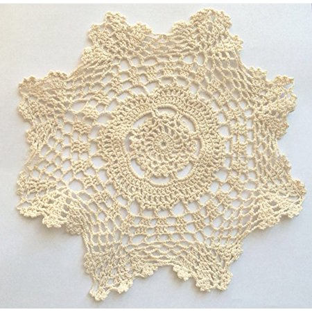 - Fennco Styles Handmade Crochet Lace 12-inch Cotton Doilies - 2-Pack (Round, Beige)