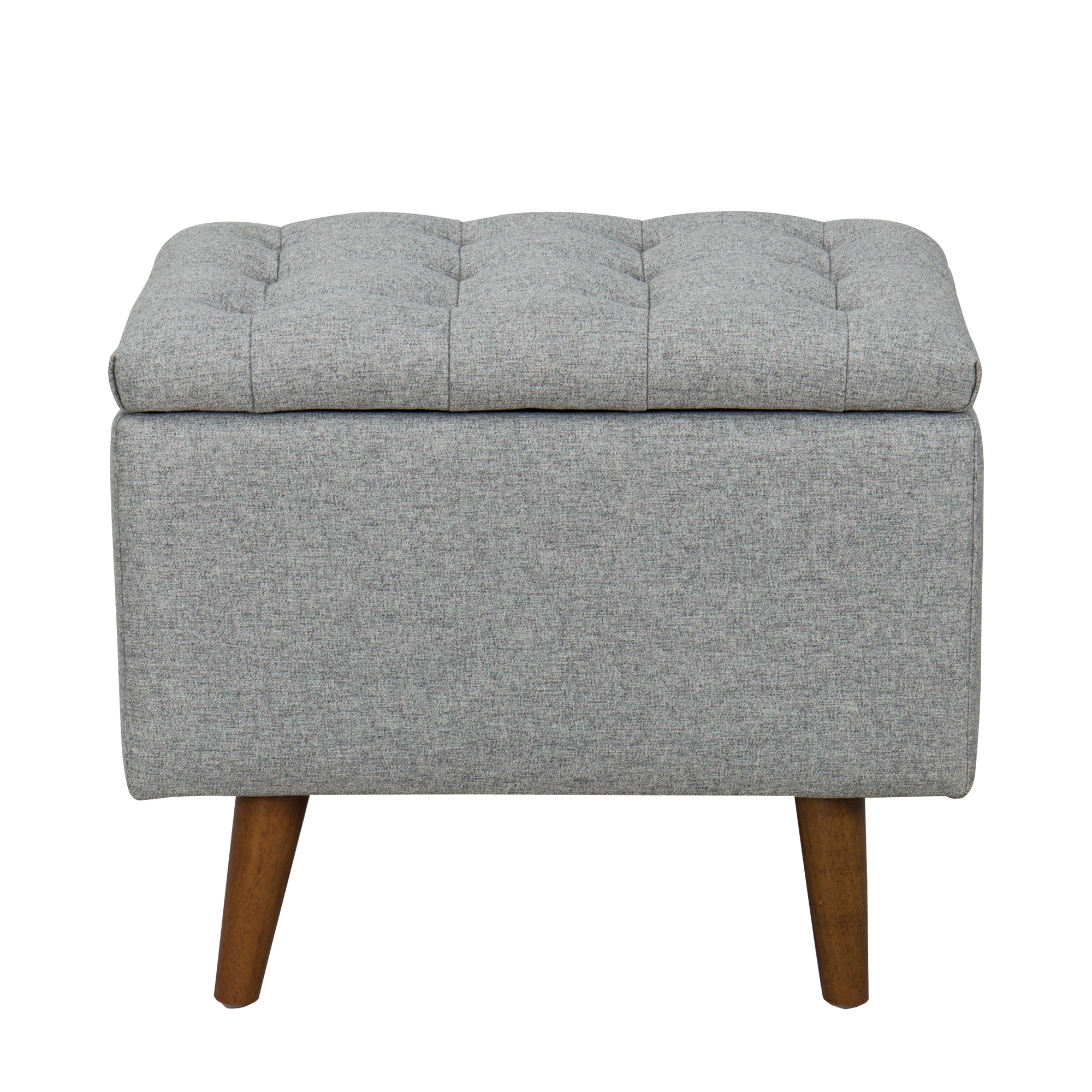 """HomePop Arlington Small 22.5"""" Storage Bench with Button Tufting, Light Gray"""