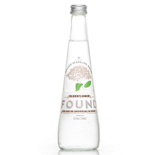 Found Infused Sparkling Water Elder Flower 11.2 Oz Glass Bottle Pack of 12 by
