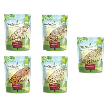 Organic Healthy Nuts & Seeds in a Gift Box - A Variety Pack of Almonds, Walnuts, Cashews, Macadamia Nuts and Pumpkin Seeds