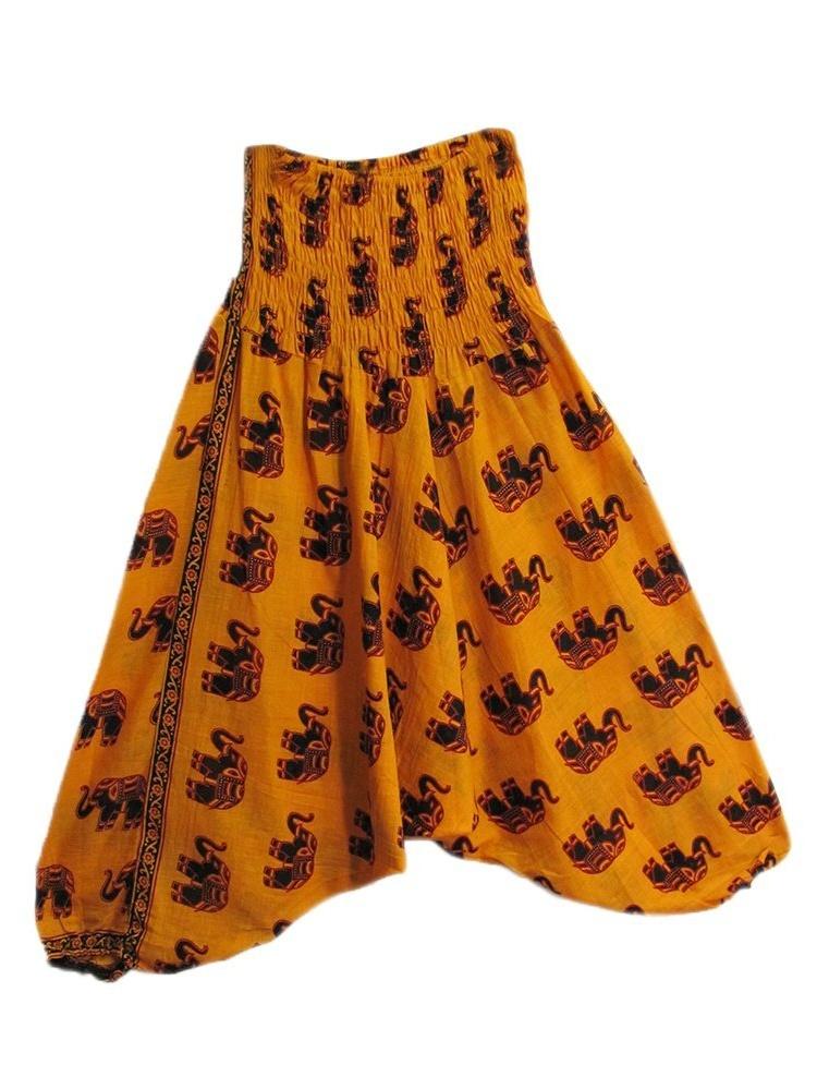 Bohemian Indian Cotton Elephant Gypsy Alibaba Harem Yoga Pants (Purple)