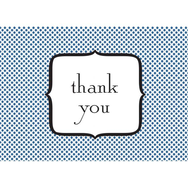 Birchcraft Studios 2034 Polka Dot Thank You - Silver Lined Envelope with White Lining - Blue Ink - Pack of 25
