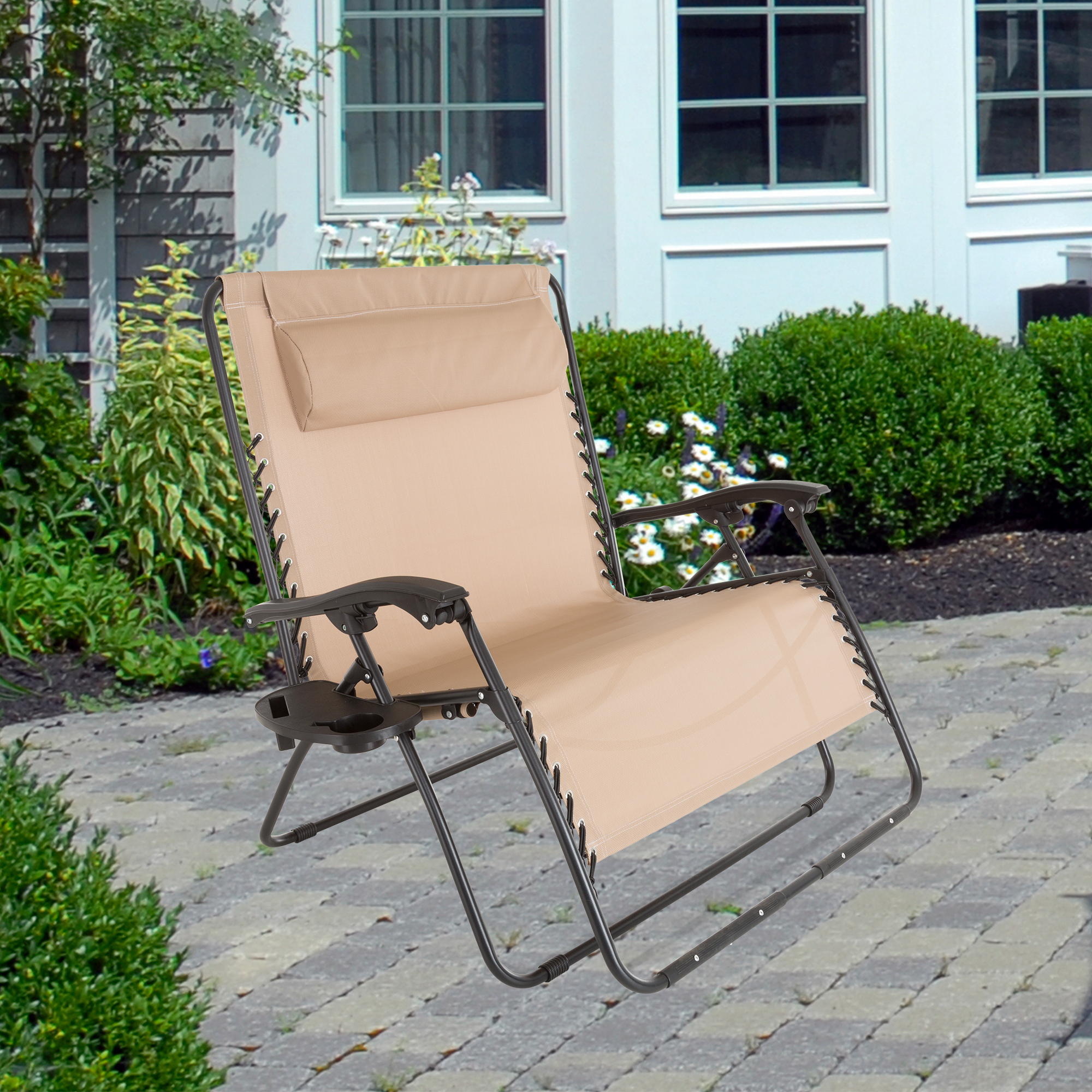 Zero Gravity Loveseat with Pillow and Cup Holder - Beige by Pure Garden