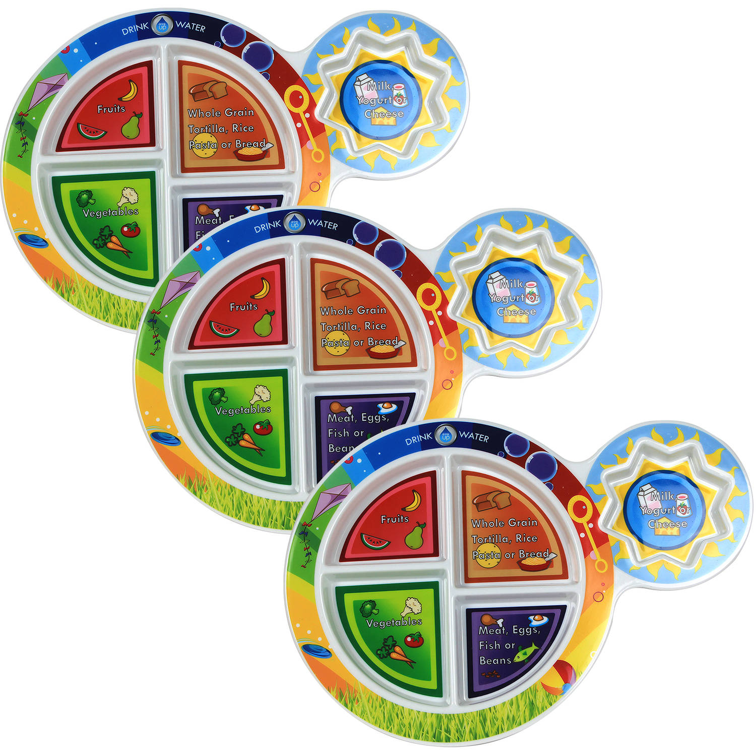 "Fresh Baby7"" Kid's 5 -Section MyPlate, 3-Pack"