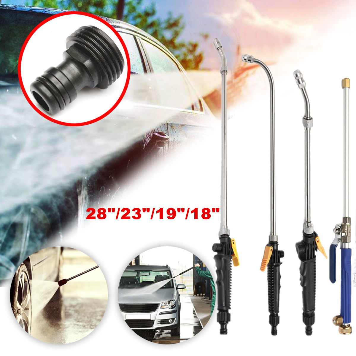 High Pressure Power Washer Spray Nozzle Water Gun Spay Hose Wand Attachment Garden Car Washing Cleaning Tool