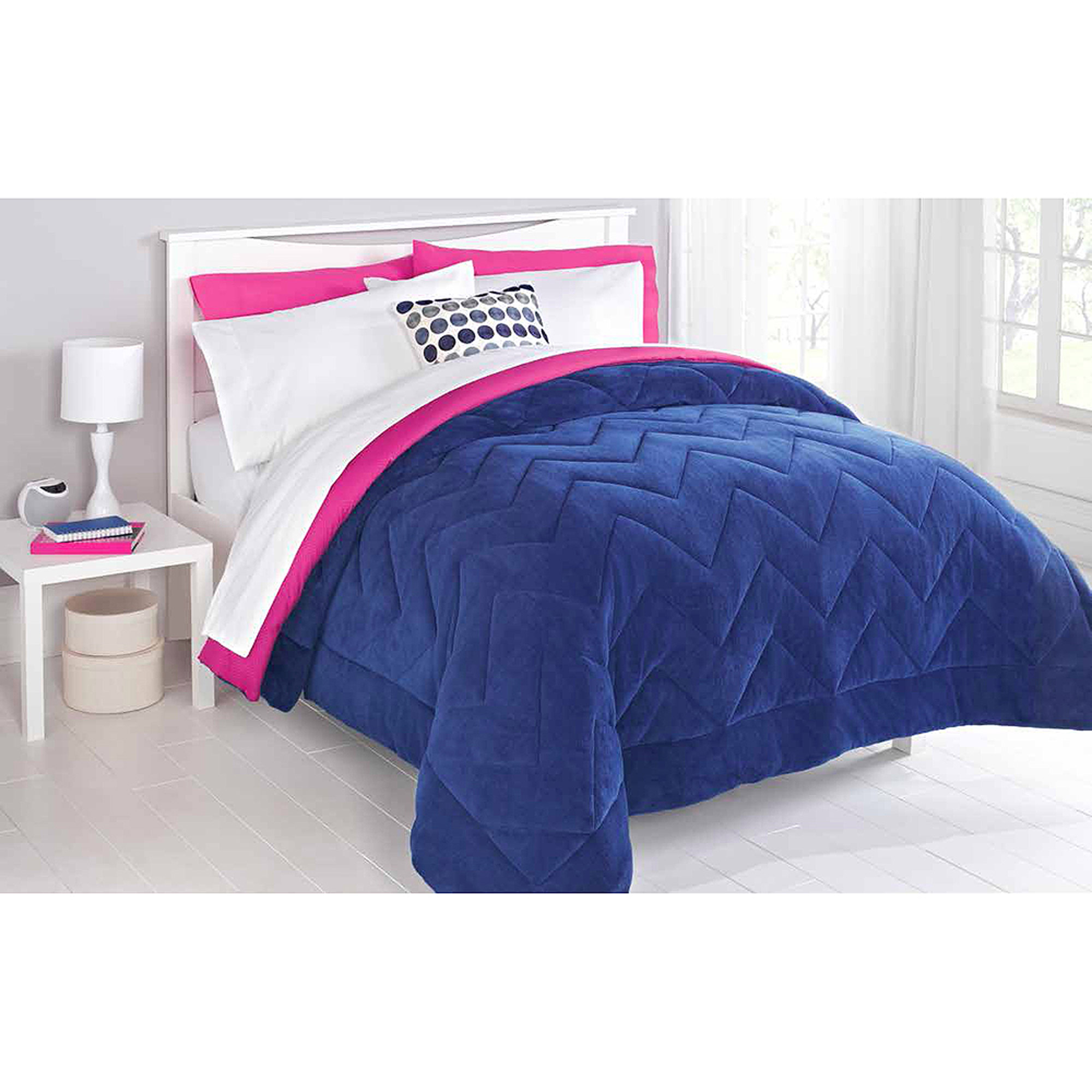 Mainstays Two-Toned Chevron-Stitched Reversible Plush Bedding Comforter