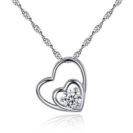 Sexy Sparkles Double Hearts Cubic Zircon Silver Tone Pendant Necklace 18 4/8