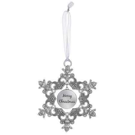 Merry Christmas - Santa Snowflake Sentiment Photo Ornament by - Merry Christmas Photo