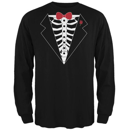Tuxedo Skeleton Costume Black Adult Long Sleeve T-Shirt