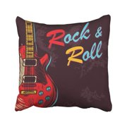 ARTJIA White Guitar Vintage Rock and Roll Music Electric Hard Sign Aged Arm Concert Drawing Pillowcase 16x16 inch