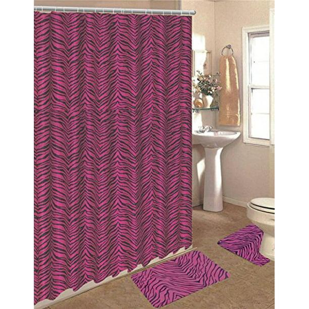 15 Piece Zebra Animal Print Memory Foam, Animal Print Bathroom Rugs