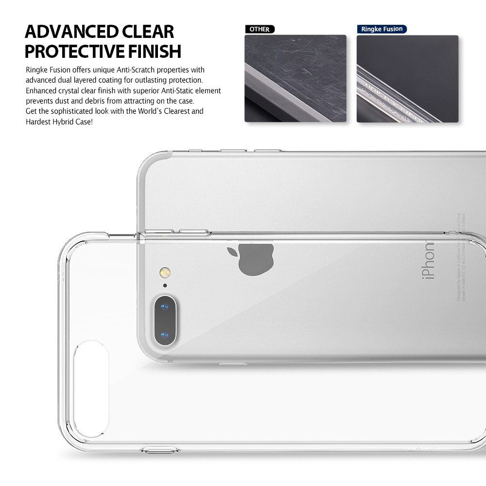 Apple Iphone 7 Plus 8 Phone Case Ringke Fusion Crystal Rearth Slim Frost White Transparent Pc Back Tpu Bumper Drop Protection Cover Lightweight Thin Scratch