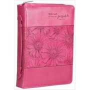 Christian Art Gifts 367105 Bi Cover With God Pink Orchid Large Pink Luxleather