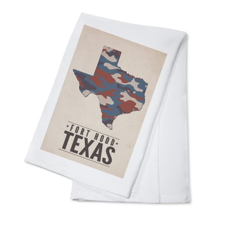 Como Kitchen - Fort Hood,Texas - The Lone Star State - Camo State - Lantern Press Poster (100% Cotton Kitchen Towel)