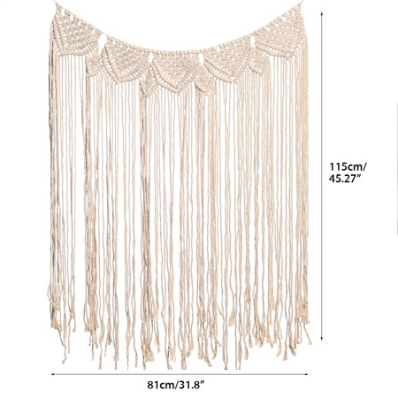 45''x32'' Handmade Bohemian Macrame Woven Wall Hanging  Knitted Tapestry Tassel Curtain Living Room Home Decor Wedding Backdrop Craft - image 5 of 7