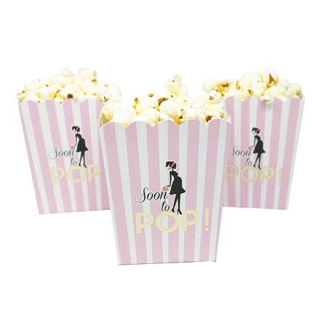Soon To Pop Popcorn Candy & Favor Boxes, Baby Girl, Small Size, 20 Count (Soft - Girl Valentine Box Ideas