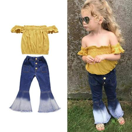 57071b584 Emmababy - 2Pcs/Set Toddler Kids Baby Girls Off Shoulder Tops Denim Long  Pants Jeans Outfit Sets 3-7T - Walmart.com