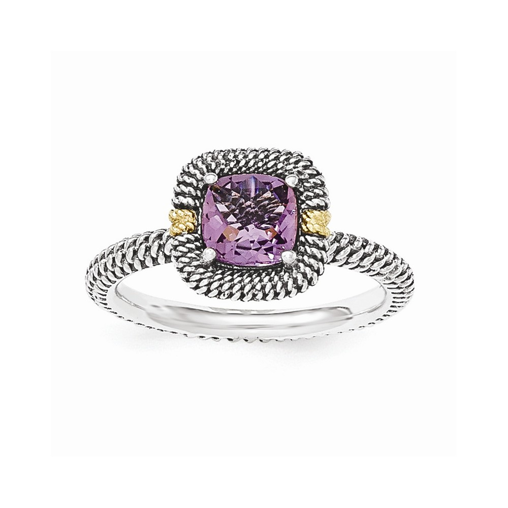 14K Gold and 925 Sterling Silver with Amethyst Cushion Ring Size-8 by