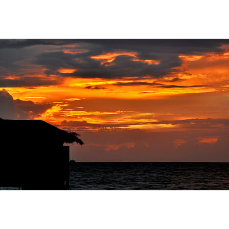 LAMINATED POSTER Sunset Water House Full Moon Island Maldives Poster Print 24 x 36 (Full Comfort House)