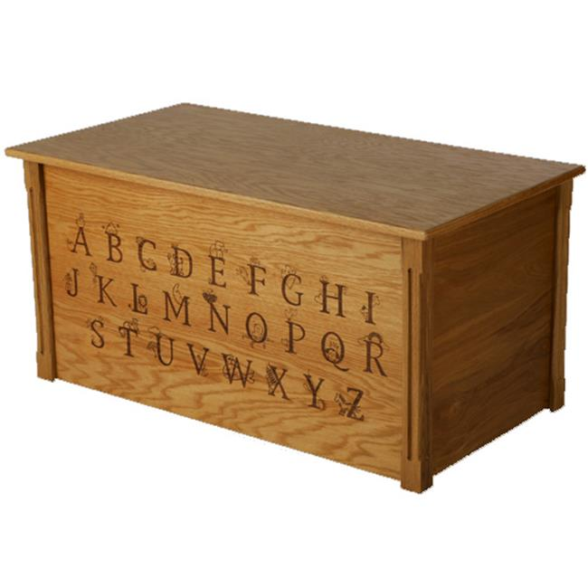 Wood Creations WTB-ABC Oak Toybox with Full Alphabet